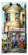 San Francisco North Beach - Watercolor Art Bath Towel