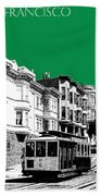 San Francisco Skyline Cable Car 2 - Forest Green Hand Towel