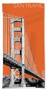 San Francisco Skyline Golden Gate Bridge 2 - Coral Bath Towel