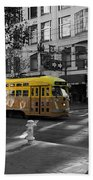 San Francisco Vintage Streetcar On Market Street - 5d19798 - Black And White And Yellow Bath Towel