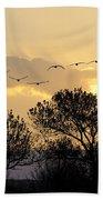 Sandhill Cranes Flying At Sunset Bath Towel