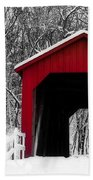 Sandy Creek Cover Bridge With A Touch Of Red Bath Towel
