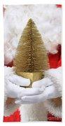 Santa Claus Holding Christmas Tree Bath Towel