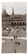 Santa Cruz Beach From Pleasure Pier  California Circa 1908 Bath Towel