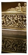Sarcophoghus Reflected In Antalya Archeological Museum-turkey  Bath Towel