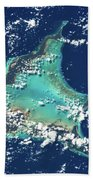 Satellite View Of Turks And Caicos Bath Towel