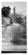 Savannah Fountain - Black And White Bath Towel