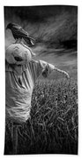 Scarecrow And Black Crows Over A Cornfield Bath Towel