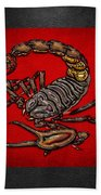 Scorpion On Red And Black Leather Bath Towel