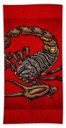 Scorpion On Red Bath Towel
