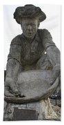 Scuplture Of Gold Rush Miner Claude Chana Bath Towel