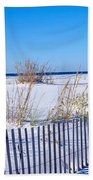Sea Oats And Fence Along White Sand Bath Towel