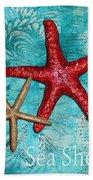 Sea Shore Original Coastal Painting Colorful Starfish Art By Megan Duncanson Bath Towel
