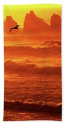 Seagull Soaring Over The Surf At Sunset Oregon Coast Bath Towel