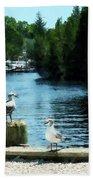 Seagulls On The Pier Bath Towel
