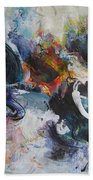Seascape Abstract Painting Blue Purple Orange Acrylic Painting Bath Towel
