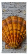 Seashell And Words Bath Towel