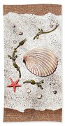 Seashell With Pearls Sea Star And Seaweed  Bath Towel