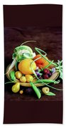 Seasonal Fruit And Vegetables Bath Towel