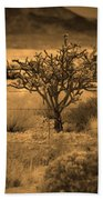 Sepia Cacti Roadside Bath Towel