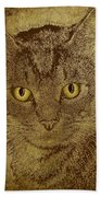 Sepia Cat Bath Towel