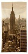 Sepia Empire State Building New York City Bath Towel