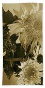 Sepia Garden Sunflower Bouquet Bath Towel