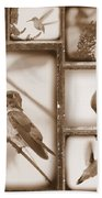 Sepia Hummingbird Collage Bath Towel