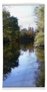 Serenity Pond Reflection At Limehouse Ontario Bath Towel