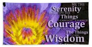 Serenity Prayer With Lotus Flower By Sharon Cummings Hand Towel
