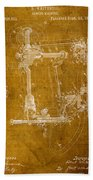 Sewing Machine Vintage Patent On Worn Canvas Bath Towel by Design Turnpike