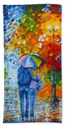 Sharing Love On A Rainy Evening Original Palette Knife Painting Bath Towel