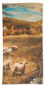 Sheep In October's Field Bath Towel