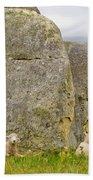 Sheep On A Mountain Pasture Between Granite Rocks Bath Towel