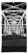 Shelby Street Bridge At Night In Nashville Bath Towel