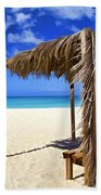 Shelter On A White Sandy Caribbean Beach With A Blue Sky And White Clouds Bath Towel