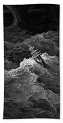 Ship In Stormy Sea Hand Towel