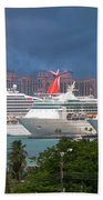 Ships And Atlantis Bath Towel