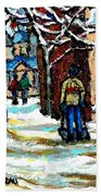 Shovelling Out After January Storm Verdun Streets Clad In Winter Whites Montreal Painting C Spandau Bath Towel