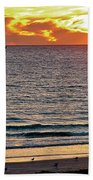 Shrimp Boats And Gulls Over Sea Of Cortez At Sunset From Playa Bonita Beach-mexico Bath Towel