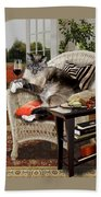 Funny Pet A Wine Bibbing Kitty  Bath Towel