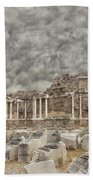 Side Nymphaeum Fountain Ruins Bath Towel