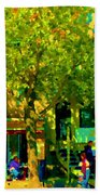 Sidewalk Cafe Rue St Denis Dappled Sunlight Shade Trees Joys Of Montreal City Scene  Carole Spandau Bath Towel