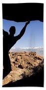 Silhouette Of A Rock Climber Bath Towel