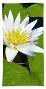 Single White Water Lily Bath Towel