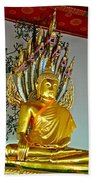 Sitting Buddha In Wat Po In Bangkok-thailand Bath Towel