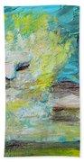 Sitting Lion Oil Portrait Bath Towel