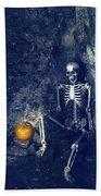 Skeleton With Jack O Lantern Bath Towel