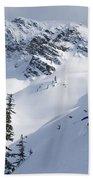 Skier Shredding Powder Below Nak Peak Bath Towel
