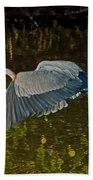 Skimming Great Heron Bath Towel